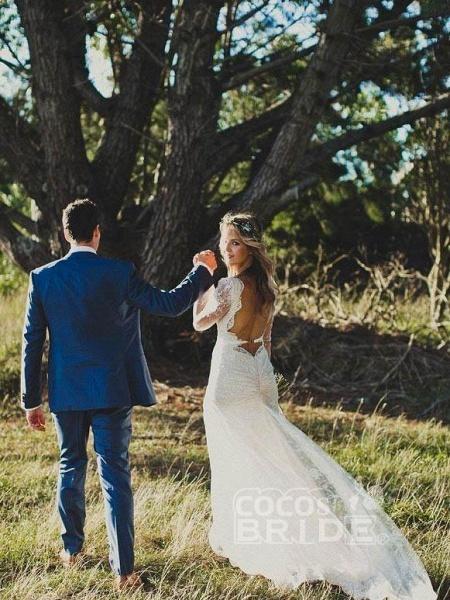 Modest Long Sleeves Lace Illusion Boho Mermaid Wedding Dresses_5