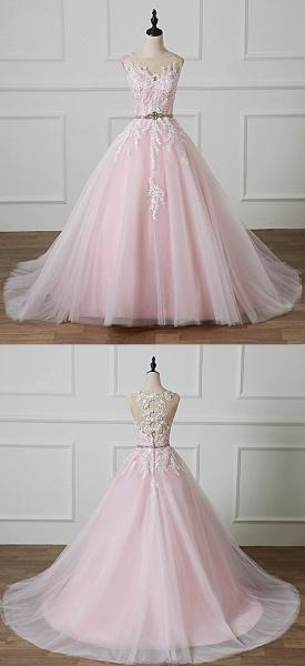 Light Pink Scoop Neck Lace Applique  Beaded Wedding Dress_5