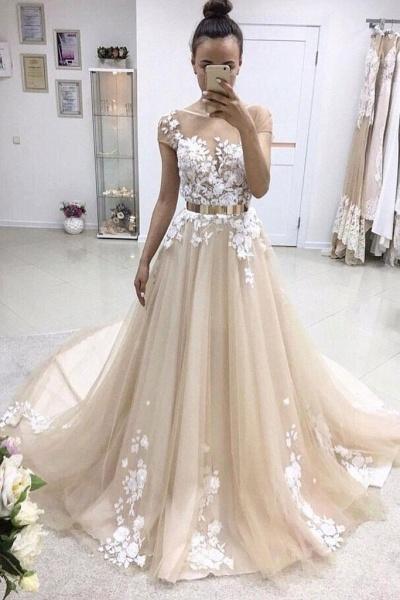 A-line Bateau Lace Appliqued Gold Sash Short Sleeves Wedding Dress_1