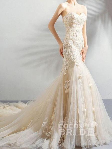 Sweetheart Sleeveless Mermaid Wedding Dresses_4