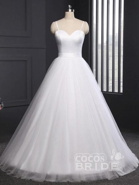 A Line Spaghetti Strap Beach Wedding Dresses White Tulle Bridal Gown_4