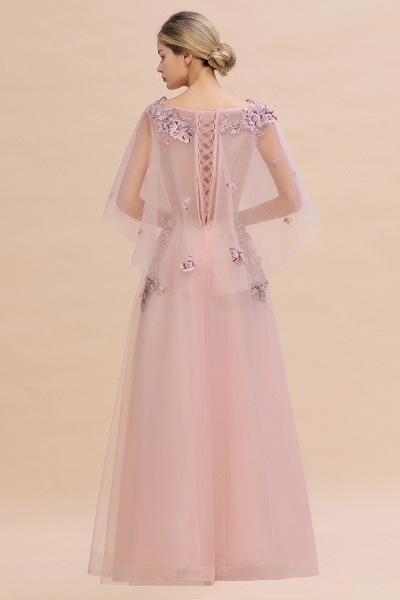 Dusty Pink Tulle Short Sleeve Long Prom Dress_12