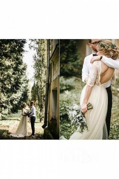 Puffy Half Sleeves Backless Floor Length Long Beach Wedding Dress_6
