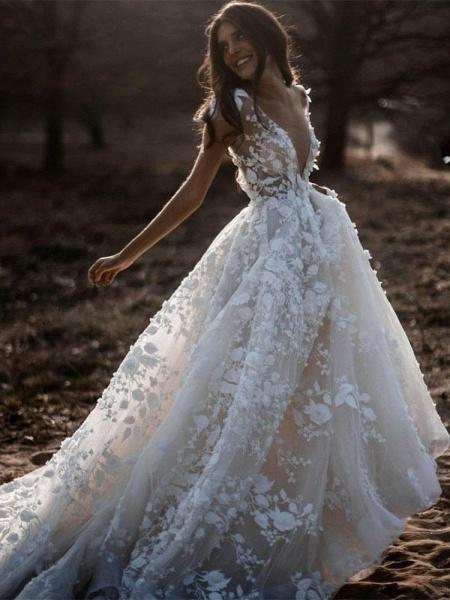 Deep V Neck Short Sleeve Backless A Line Wedding Dresses_1