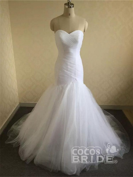 Sweetheart Tulle Ruched Mermaid Wedding Dresses_2