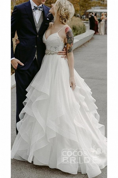 Charming Lace Ruffles Tulle Puffy Spaghetti Strap Beach Wedding Dress_5