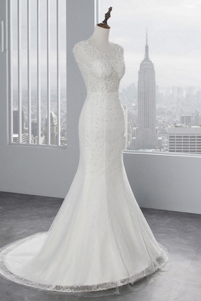 Glamorous Long Mermaid Jewel Tulle Sleeveless Wedding Dress with Appliques Lace_3