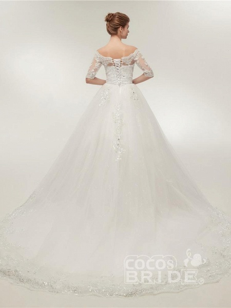 Off-the-Shoulder Half Sleeves Lace Ball Gown Wedding Dresses_2