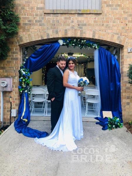 O-Neck Appliques A-Line Wedding Dresses_3