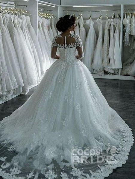 Elegant Long Sleeves Lace Appliques Ball Gown Wedding Dresses_2
