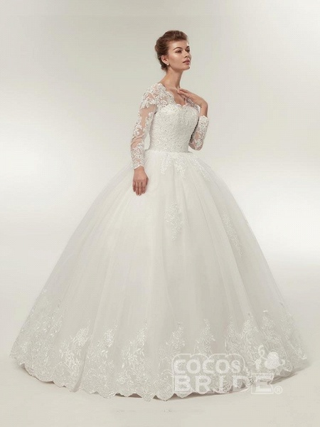 Long Sleeves V-Neck Ball Gown Lace Wedding Dresses_2