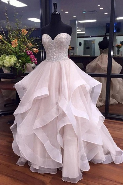 White Organza Sequins Sweetheart Tired Wedding Dresses_1