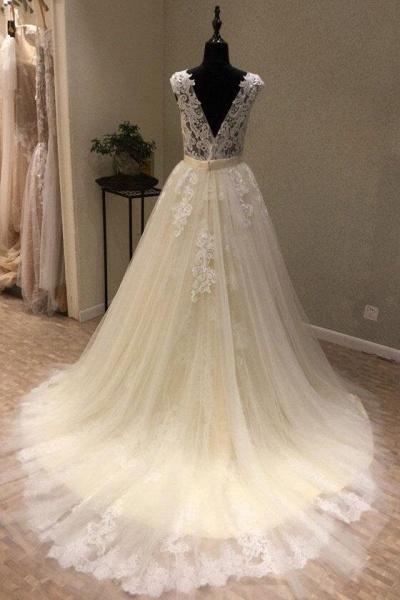 Ivory Tulle Lace V Neck Long Cap Sleeve Ivory Wedding Dress_2