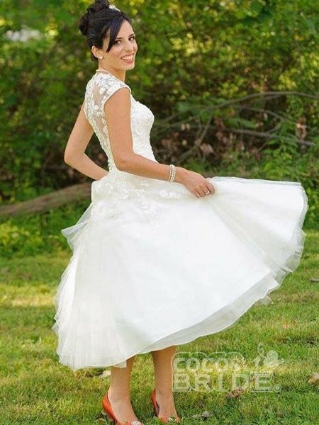Chic Sweetheart Short Ball Gown Wedding Dresses_2