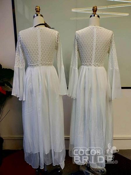 Gorgeous V-Neck Long Sleeves Floor Length Ruffles Wedding Dresses_4