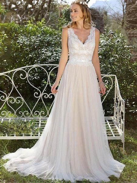 V Neck Lace Appliques A Line Wedding Dresses_1
