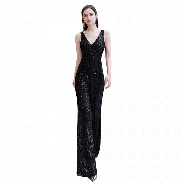 Sexy Shining V-neck Sleeveless Prom Jumpsuit with Silver Sequins_1