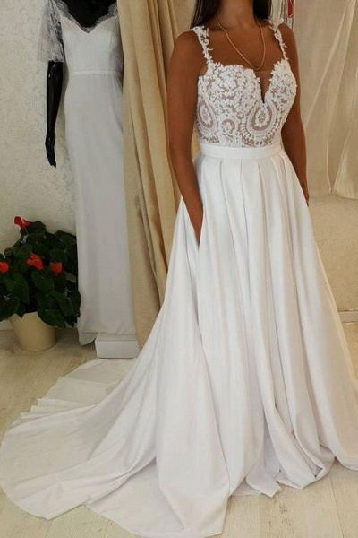 Ivory Spaghetti Strap Lace Top A-line Sweetheart Beach Wedding Dress_1