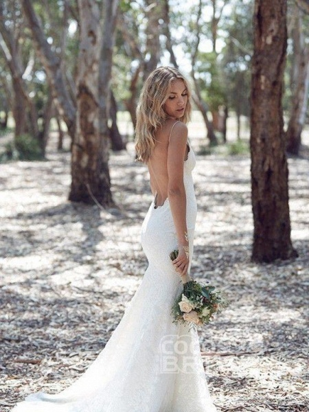 Backless Mermaid Spaghetti Strap Full Lace Wedding Dresses_3