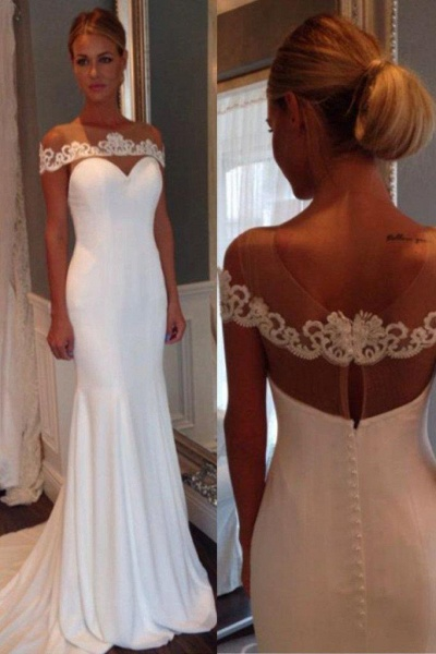 Unique Sheer Neck Lace Mermaid Wedding Dress_1