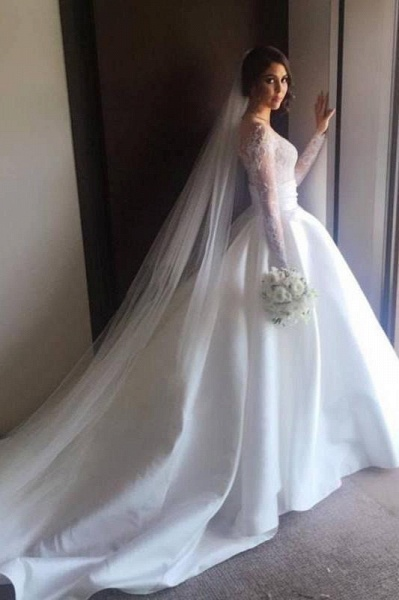 Romantic Lace Satin Skirt with Long Sleeves Illusion Back Wedding Dress_1