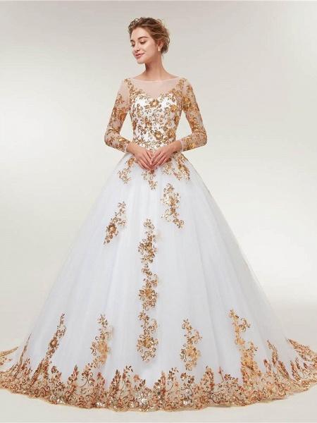 Golden Jewel Long Sleeve Ball Gown Wedding Dresses_1