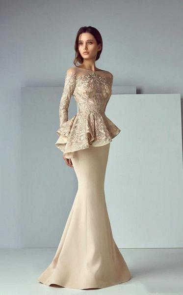 Modest High Neck Lace Mermaid Evening Dress_2