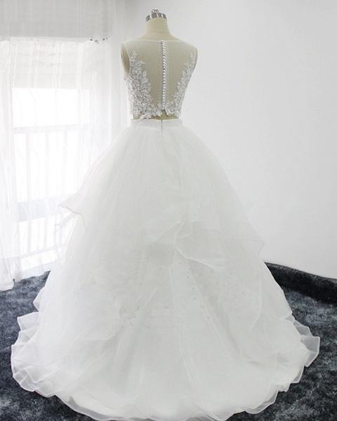Elegant White Tulle Handmade Two Pieces Long Wedding Dress_2
