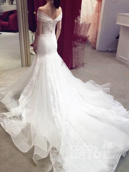 Sexy Mermaid Off-the-shoulder Chapel Train Lace Applique Wedding Dress_2