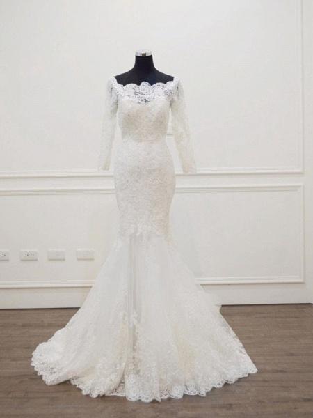 Modest Long Sleeves Sweep Train Lace Mermaid  Wedding Dresses_1