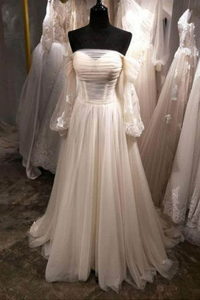 White Tulle Off Shoulder Long Sleeve See Through A-Line Wedding Dress_1
