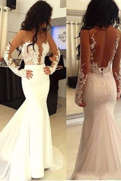 Sexy Mermaid Hot Sale Open Back Long Sleeve Wedding Dress_1