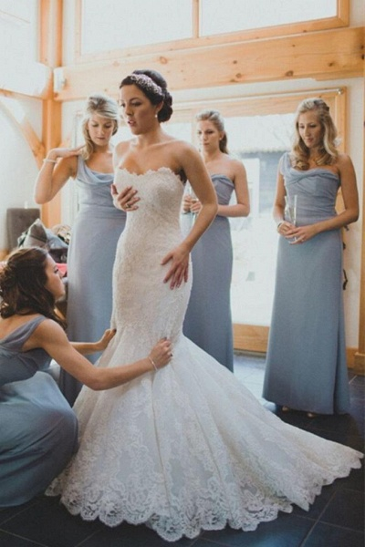 Elegant Trumpet/Mermaid Sweep Train Ivory Sleeveless Wedding Dress_1