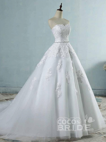 Glamorous Sweetheart Appliques Lace-UP Wedding Dresses_3