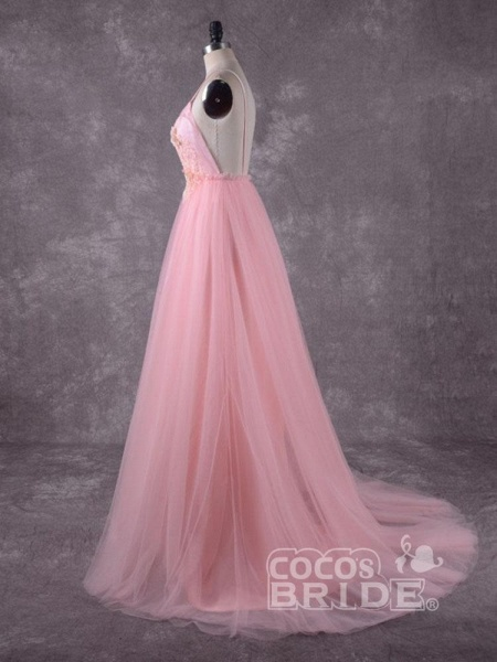 Gorgeous V-Neck Backless Tulle Wedding Dresses_3