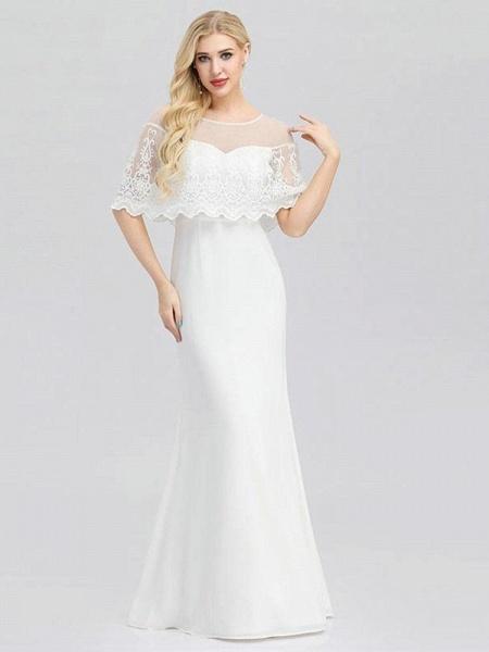 Modest O-Neck Zipper Floor-Length Mermaid Wedding Dresses_1