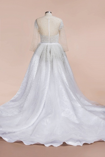 Precious Long Sleeve Beading Sheath Wedding Dress_11