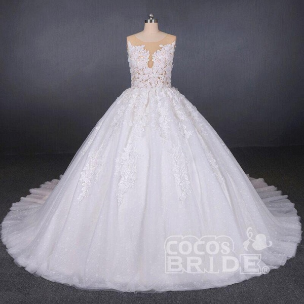 Ball Gown Sheer Neck Sleeveless White Lace Appliqued Wedding Dress_5