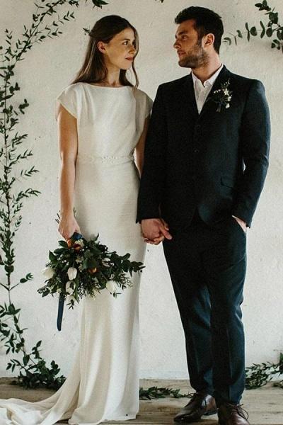 Sheath Cap Sleeves Long Simple Open Back Wedding Dress_1