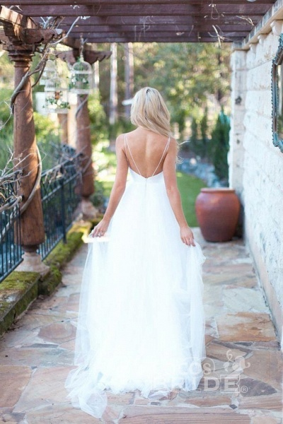Hot Summer Boho Beach Tulle Spaghetti Straps Wedding Dress_2