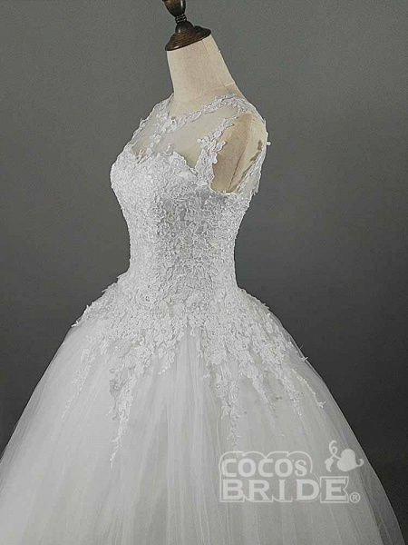 Glamorous Lace Ball Gown Tulle Wedding Dresses_5