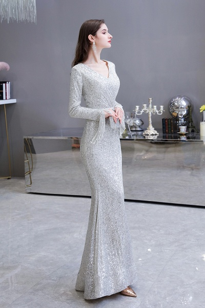 Gorgeous Sequins Long Sleeve V-Neck Mermaid Evening Gowns_5