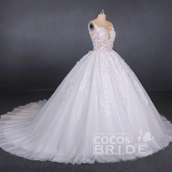 Ball Gown Sheer Neck Sleeveless White Lace Appliqued Wedding Dress_6
