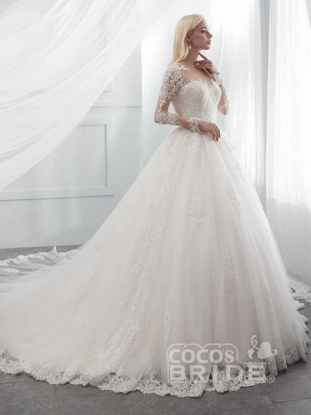 Long Sleeves Lace Ball Gown Wedding Dresses_3