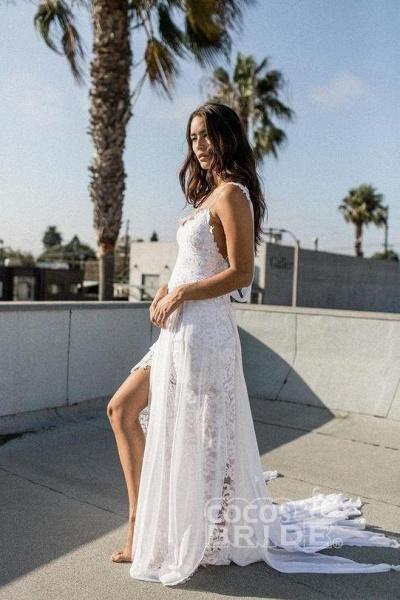 Bohemian Cheap Spaghetti Straps Long Beach Wedding Dress_5