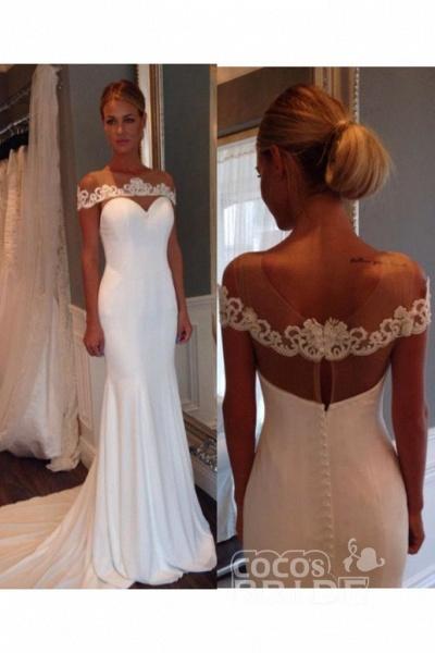 Unique Sheer Neck Lace Mermaid Wedding Dress_2