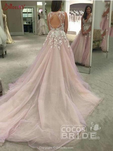 Elegant V Neck Tulle A-Line Wedding Dresses_3