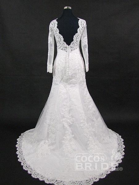 V-Neck Long Sleeves Lace Mermaid Wedding Dresses_5