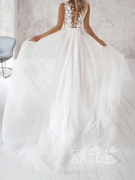Covered Button Lace Appliques Wedding Dresses_2