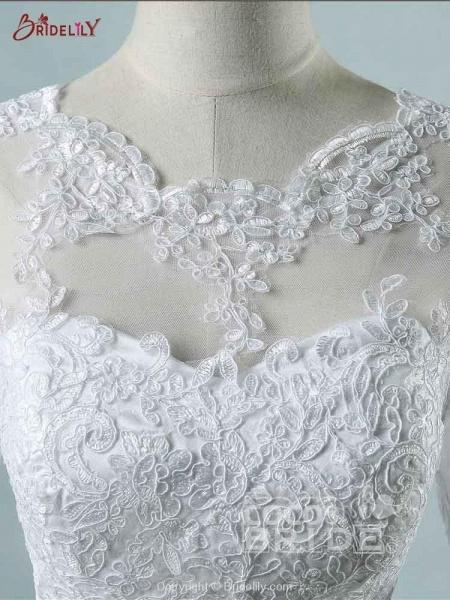 Elegant Long Sleeves Corset lace up Wedding Dresses_6